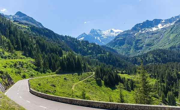 ALBULA-BERNINA alpine road through pass Switzerland