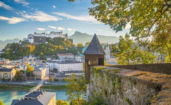 Aerial panoramic view of the historic city of Salzburg with famous Hohensalzburg-Austria 796413307