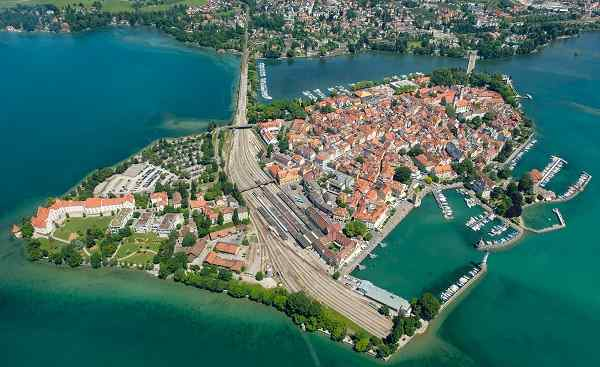 Aerial perspective of peninsula Lindau with port and Marina in summer 692462044