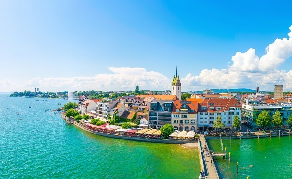 Bodensee Panorama view of a marina of the german city Friedrichshafen shutterstock 542184157