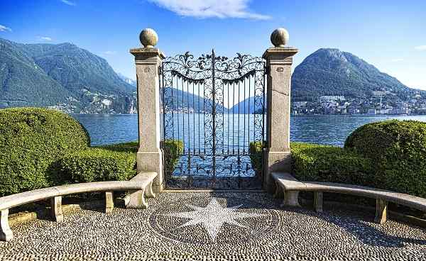 CH-NORD-SUED Ancient gate of Ciani Park  in Lugano  Switzerland 286092629