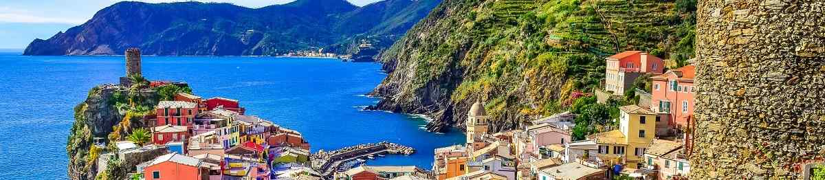 Scenic view of colorful village Vernazza and ocean coast in Cinque  156908393